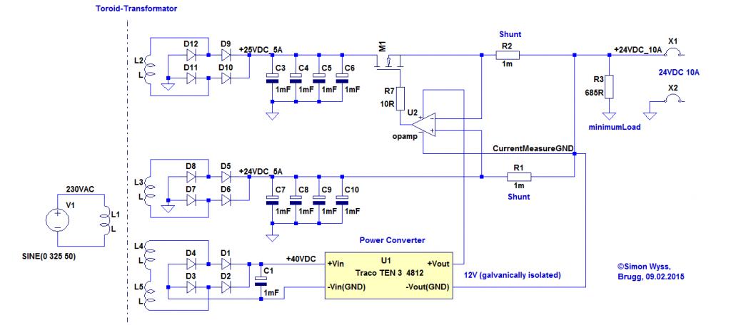 Toroid transformer windings parallel schematic