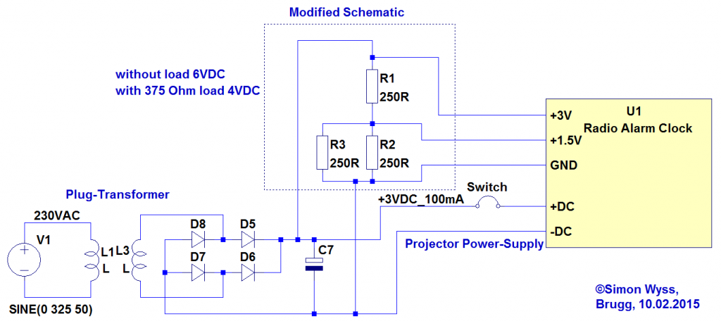 Radio Alarm Clock modified schematic