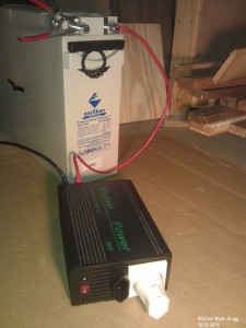 lead battery connected to a 500W power inverter